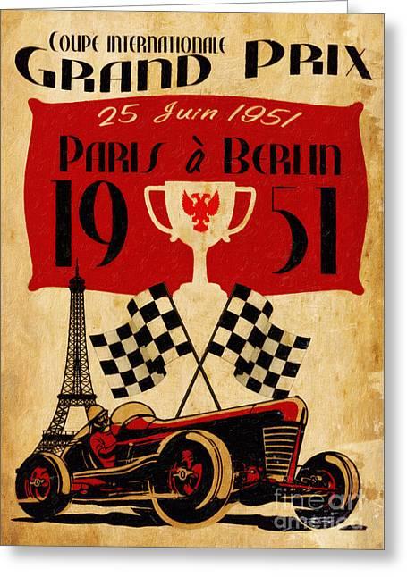 Motor Car Greeting Cards - Vintage Grand Prix Paris Greeting Card by Cinema Photography