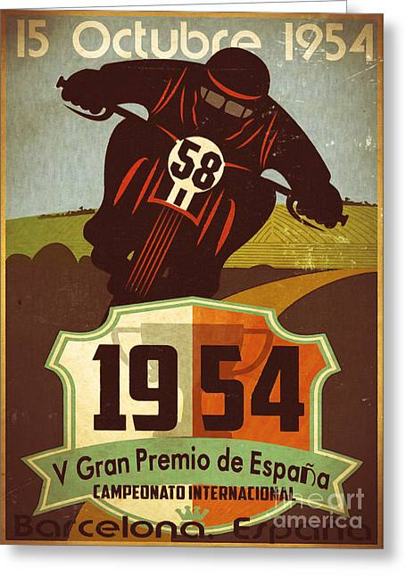 Motor Car Greeting Cards - Vintage Grand Prix Spain Greeting Card by Cinema Photography
