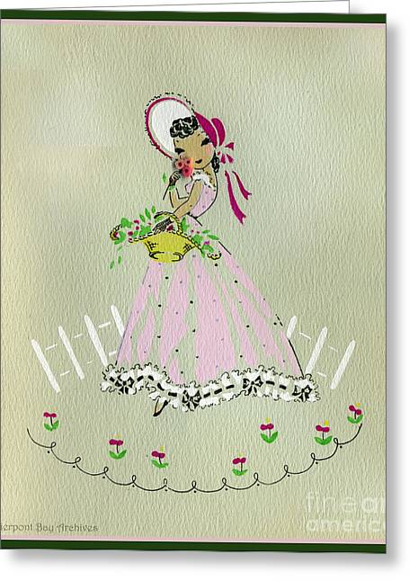 Picking Drawings Greeting Cards - Vintage Greeting.  Girl with basket of flowers in pink bonnet Greeting Card by Pierpont Bay Archives