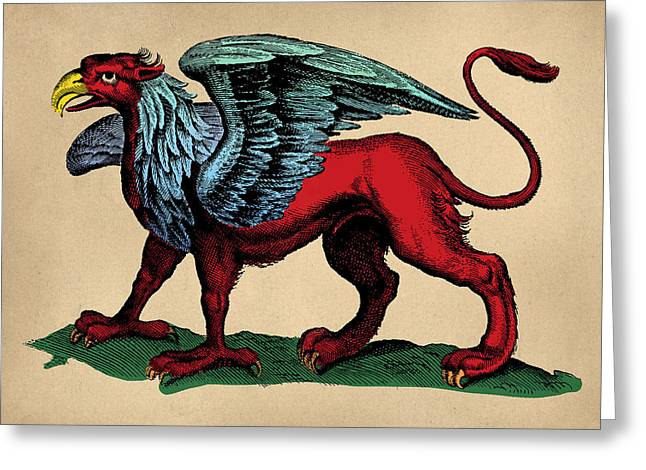 Fantasy Creatures Greeting Cards - Vintage Griffin Tinted Woodcut Greeting Card by Flo Karp
