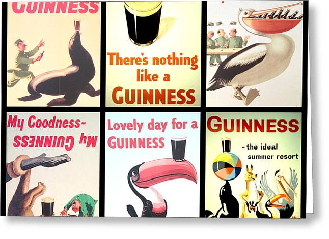 Pouring Digital Art Greeting Cards - Vintage Guinness  Greeting Card by Nomad Art And  Design
