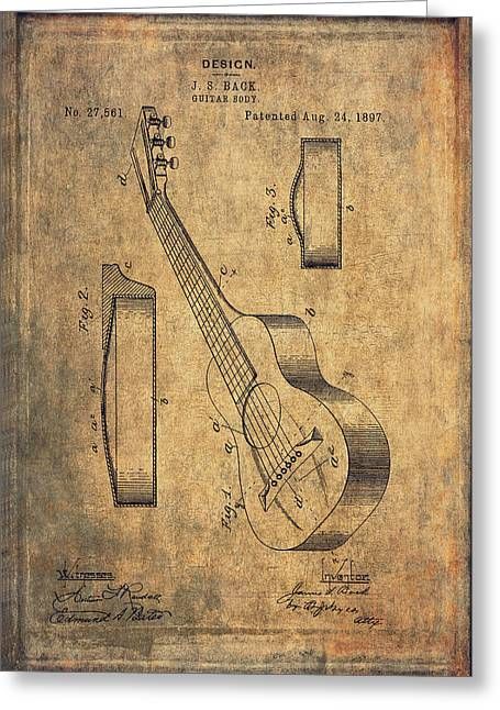 Antique Artwork Greeting Cards - Vintage Guitar Body Design Patent - 1897 Greeting Card by Maria Angelica Maira