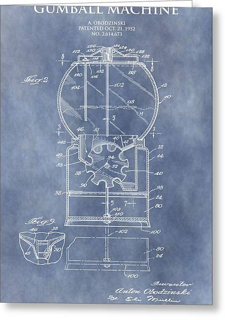 Bubble Gum Gumballs Gumball Machine Greeting Cards - Vintage Gumball Machine Patent Greeting Card by Dan Sproul