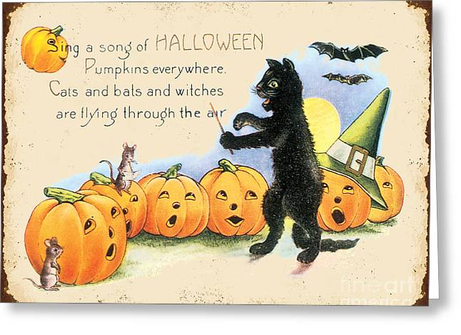 Witch Cat Greeting Cards - Vintage Halloween-A Greeting Card by Jean Plout