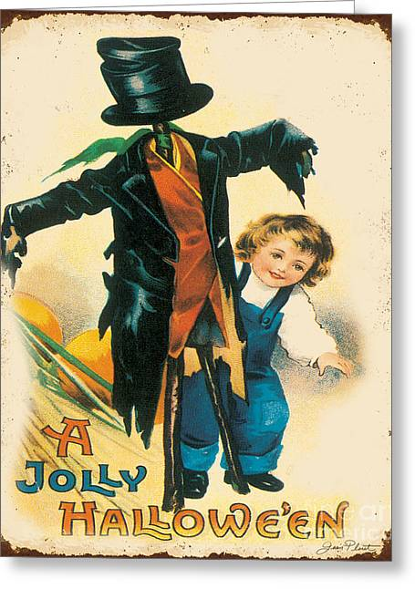 Halloween Sign Greeting Cards - Vintage Halloween-B Greeting Card by Jean Plout