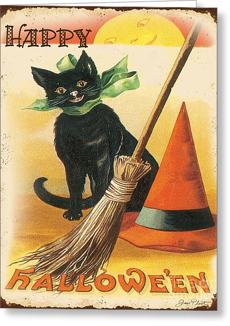 Witch Cat Greeting Cards - Vintage Halloween-D Greeting Card by Jean Plout