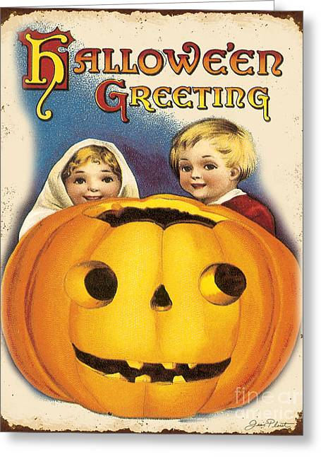 Halloween Sign Greeting Cards - Vintage Halloween-E Greeting Card by Jean Plout