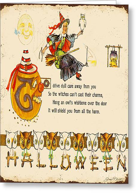 Witch Cat Greeting Cards - Vintage Halloween-F Greeting Card by Jean Plout