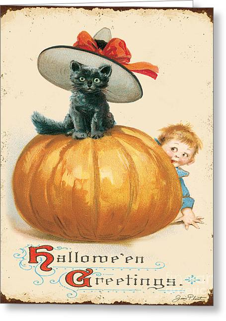 Halloween Sign Greeting Cards - Vintage Halloween-G Greeting Card by Jean Plout