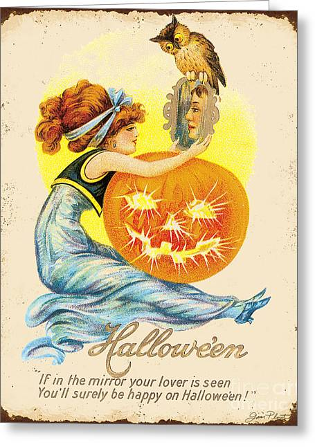 Halloween Sign Greeting Cards - Vintage Halloween-H Greeting Card by Jean Plout