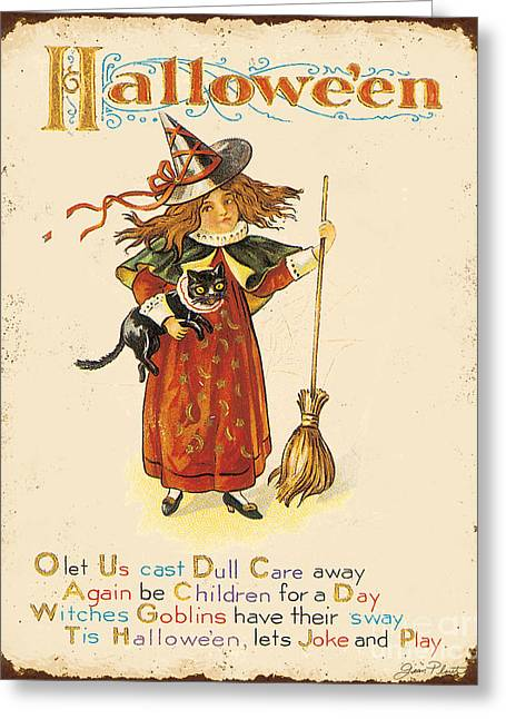 Witch Cat Greeting Cards - Vintage Halloween-I Greeting Card by Jean Plout