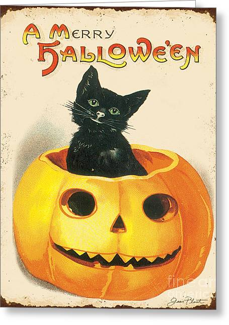 Witch Cat Greeting Cards - Vintage Halloween-K Greeting Card by Jean Plout