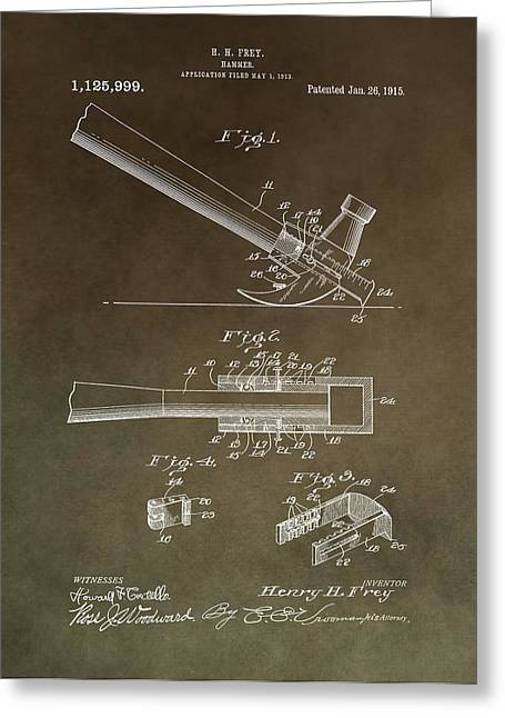 Slam Greeting Cards - Vintage Hammer Patent Greeting Card by Dan Sproul