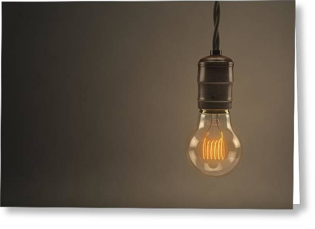Incandescent Greeting Cards - Vintage Hanging Light Bulb Greeting Card by Scott Norris