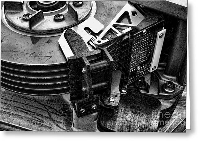 Technology Greeting Cards - Vintage Hard Drive Greeting Card by Olivier Le Queinec