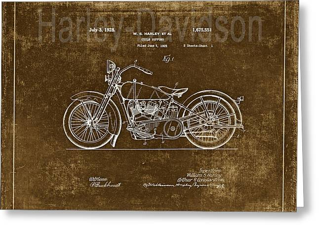 Quality Drawings Greeting Cards - Vintage Harley - Davidson Motorcycle Patent - Gold Greeting Card by Maria Angelica Maira