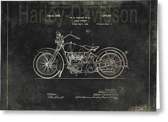 Quality Drawings Greeting Cards - Vintage Harley - Davidson Motorcycle Patent - Graphite   Greeting Card by Maria Angelica Maira