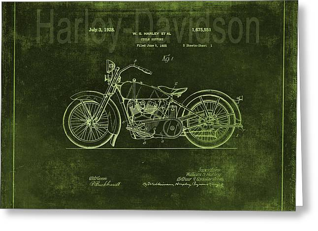 Quality Drawings Greeting Cards - Vintage Harley - Davidson Motorcycle Patent - Green Greeting Card by Maria Angelica Maira