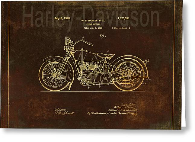 Quality Drawings Greeting Cards - Vintage Harley - Davidson Motorcycle Patent - Rust Greeting Card by Maria Angelica Maira