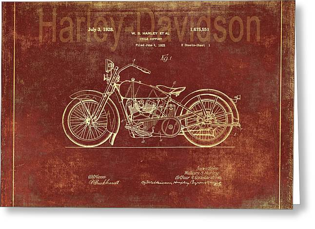 Quality Drawings Greeting Cards - Vintage Harley - Davidson Motorcycle Patent - Terracotta  Greeting Card by Maria Angelica Maira