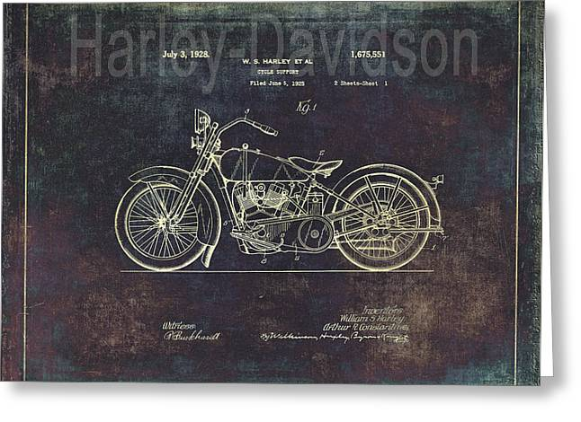 Quality Greeting Cards - Vintage Harley - Davidson Motorcycle Patent Drawing Greeting Card by Maria Angelica Maira
