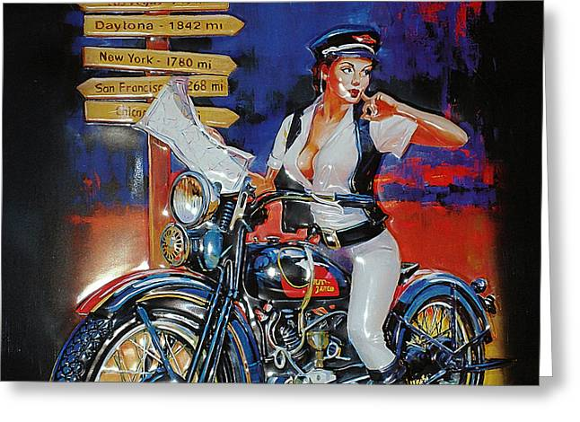 Ad Greeting Cards - Vintage Harley Davidson AD Greeting Card by Marvin Blaine