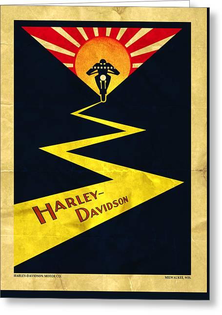 Stars And Stripes Greeting Cards - Vintage Harley-Davidson Greeting Card by Mark Rogan