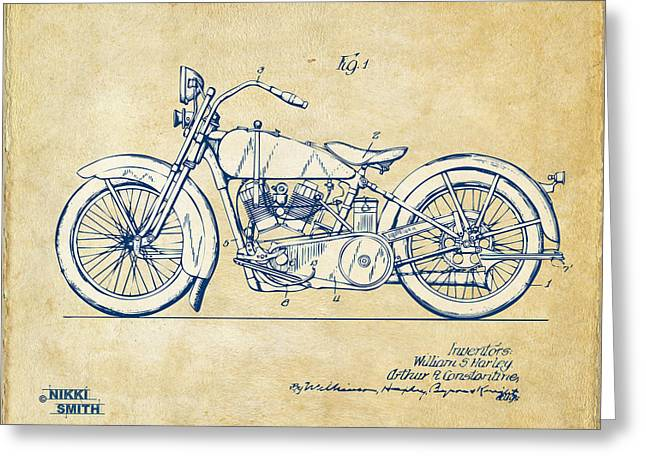 Blue Bike Greeting Cards - Vintage Harley-Davidson Motorcycle 1928 Patent Artwork Greeting Card by Nikki Smith