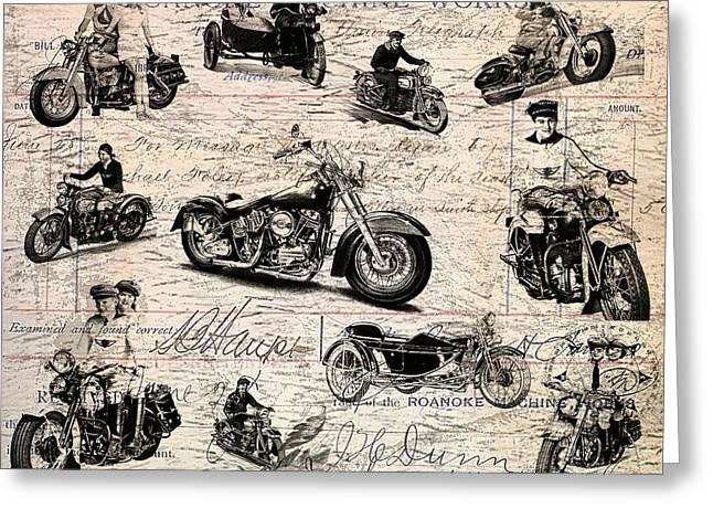 Headlight Mixed Media Greeting Cards - Vintage Harley Davidson poster Greeting Card by Eti Reid