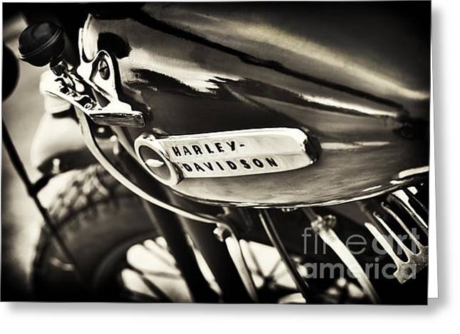 Gas Tank Greeting Cards - Vintage Harley Davidson Sepia  Greeting Card by Tim Gainey