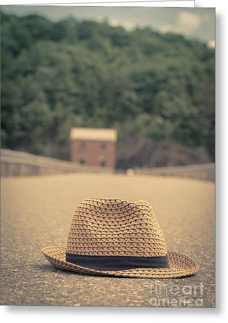 Vintage Hats Greeting Cards - Vintage hat in the road with house beyond Greeting Card by Edward Fielding