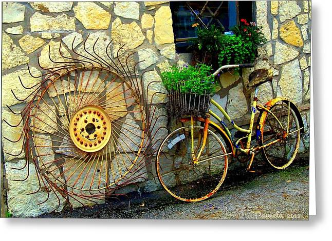 Antique Store Hay Rake And Bicycle Greeting Card by ARTography by Pamela Smale Williams
