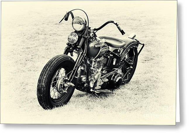 Suicide Greeting Cards - Vintage HD Panhead Greeting Card by Tim Gainey