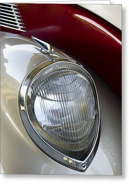 Headlight Greeting Cards - Vintage Headlamp Greeting Card by Carol Leigh