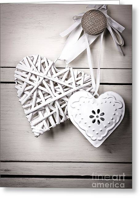 Old Objects Greeting Cards - Vintage hearts Greeting Card by Jane Rix