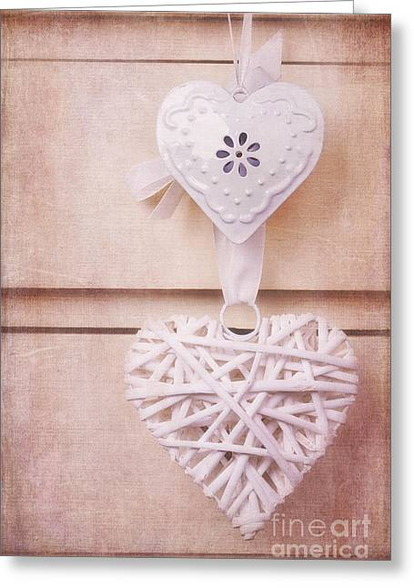 Chic Greeting Cards - Vintage hearts with texture Greeting Card by Jane Rix