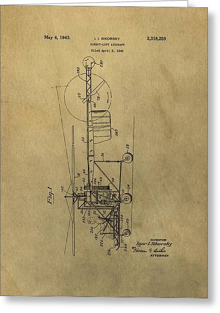 Air Force Mixed Media Greeting Cards - Vintage Helicopter Patent Greeting Card by Dan Sproul