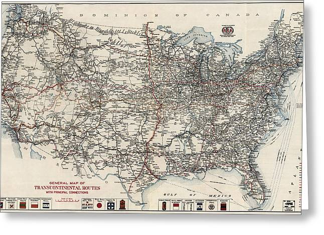 American Automobiles Greeting Cards - Vintage Highway Map of the United States by the American Automobile Association - 1918 Greeting Card by Blue Monocle