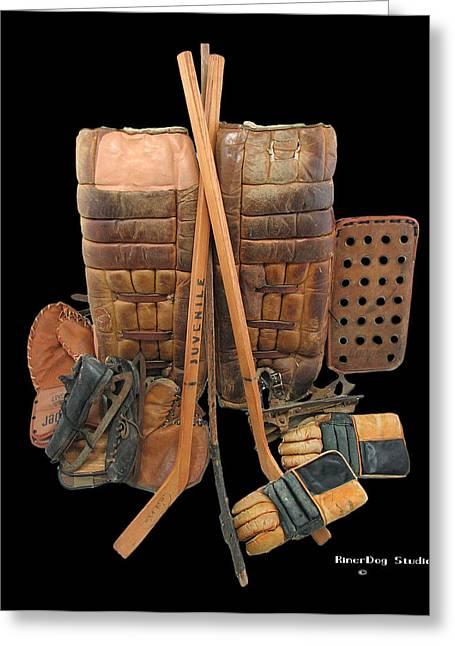 Hockey Equipment Greeting Cards - Vintage Hockey Equipment #2 Greeting Card by Spencer Hall