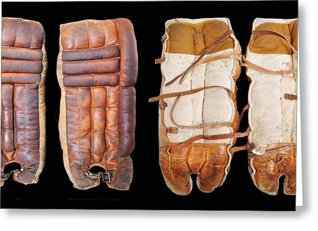 Hockey Equipment Greeting Cards - Vintage Hockey Shin Pads Greeting Card by Spencer Hall