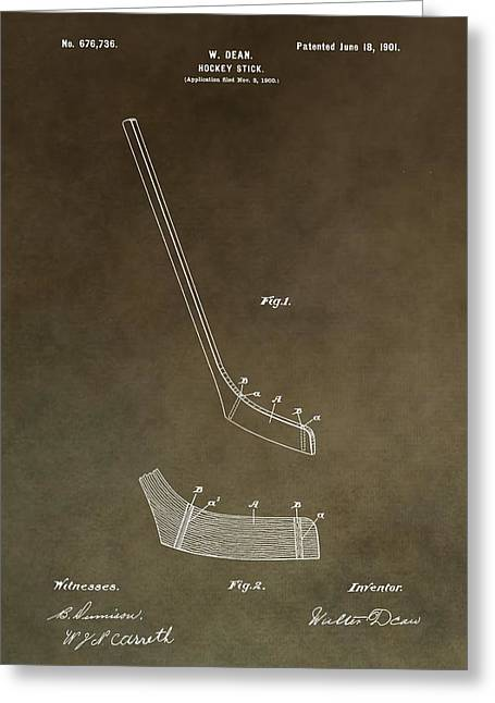 Goal Mixed Media Greeting Cards - Vintage Hockey Stick Patent Greeting Card by Dan Sproul