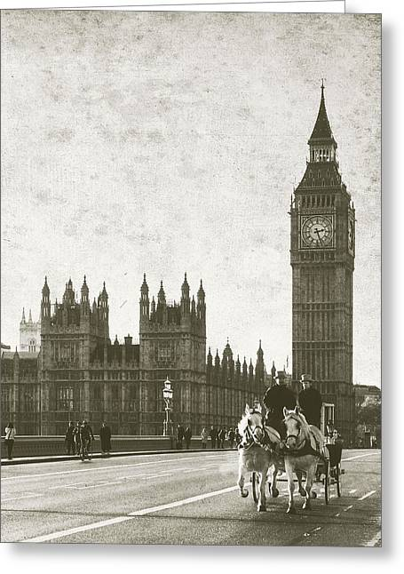 Silhouettes Of Horses Greeting Cards - Vintage Horse and Carriage in London Greeting Card by Susan  Schmitz