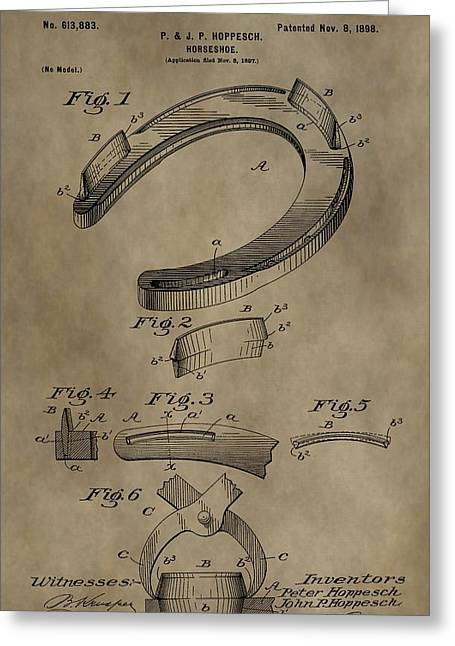 Farrier Greeting Cards - Vintage Horseshoe Patent Greeting Card by Dan Sproul