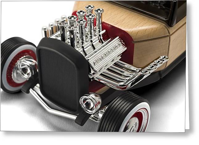 Silver Posters Greeting Cards - Vintage Hot Rod Engine Greeting Card by Gianfranco Weiss