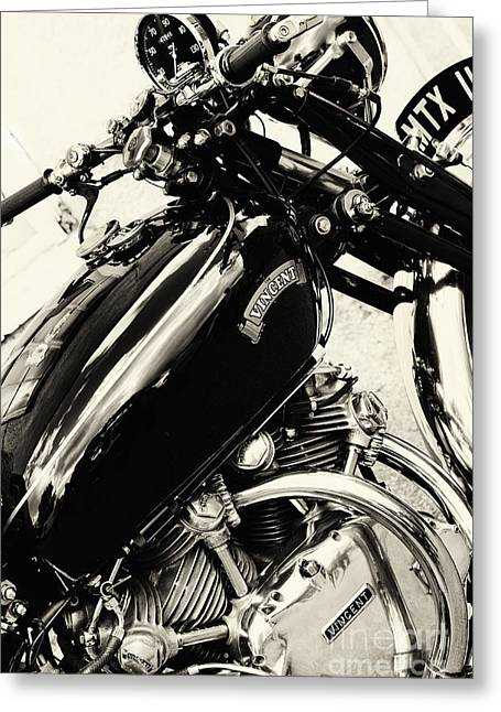 British Culture Greeting Cards - Vintage HRD Vincent Series C Black Shadow Greeting Card by Tim Gainey