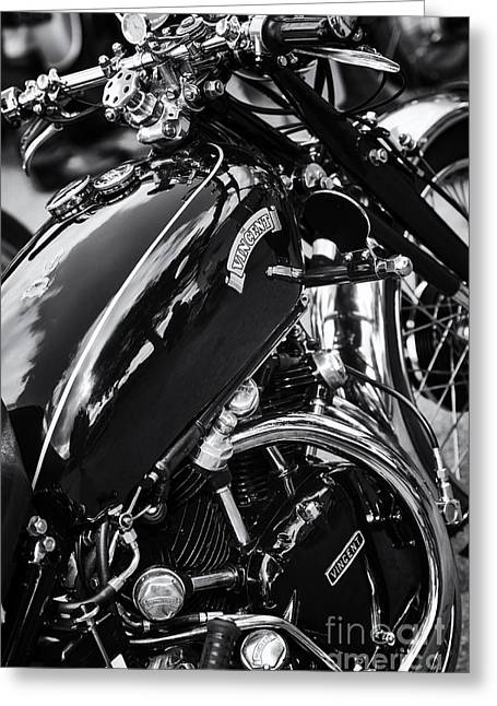 Lifestyle Greeting Cards - Vintage HRD Vincent Series D Monochrome Greeting Card by Tim Gainey