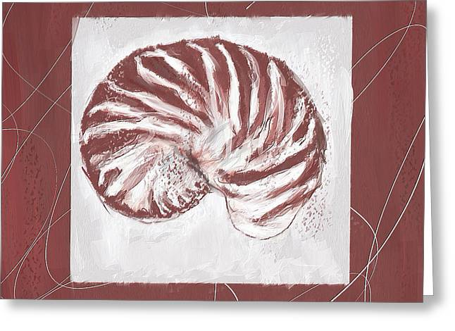 Red Art Greeting Cards - Vintage Hues- Marsala Pantone 18-1438 Greeting Card by Lourry Legarde