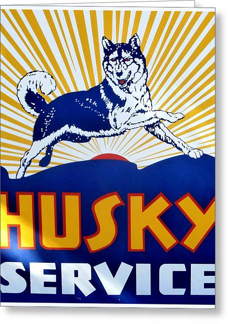 Huskies Photographs Greeting Cards - Vintage Husky Sign Greeting Card by Karyn Robinson