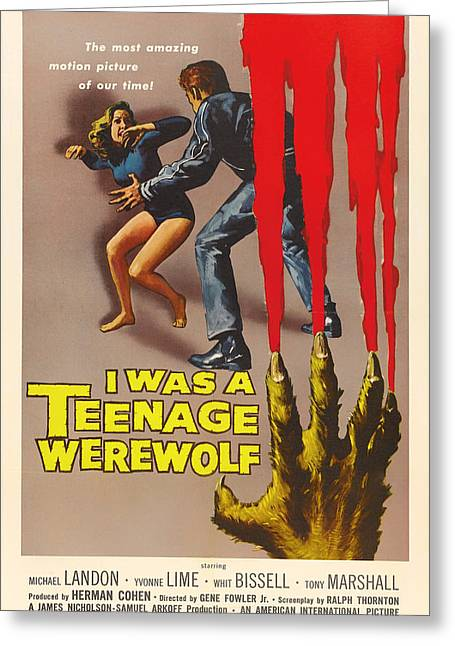 Michael Drawing Drawings Greeting Cards - Vintage I Was a Teenage Werewolf Movie Poster Greeting Card by Mountain Dreams