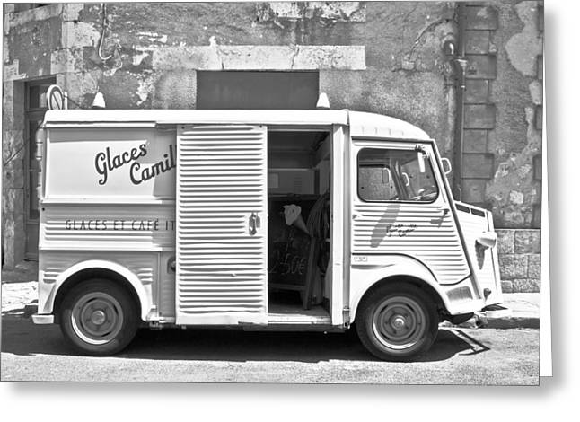 Sepia And Cream Greeting Cards - Vintage Ice Cream Truck Greeting Card by Nomad Art And  Design